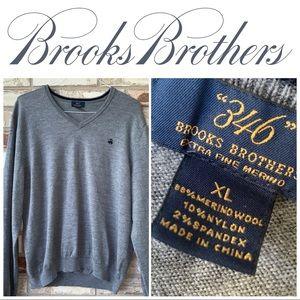 XL Brooks Brothers Gray V-Neck Merino Wool Sweater